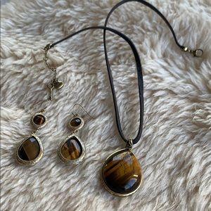 Fossil Tiger Eye necklace & earrings